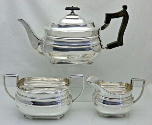 Antique Solid Silver Heavy Quality 3 Piece Tea Set Service 1913 Shef 1104 grams