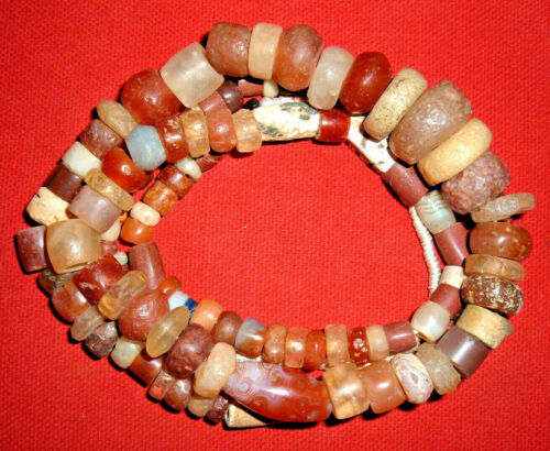 """Strand (31"""") Colorful Sahara Neolithic Stone Beads Prehistoric African Artifacts"""