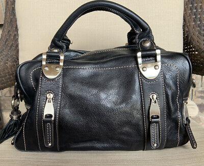 B. Makowsky Black Leather Handbag Zip Pockets Tassel