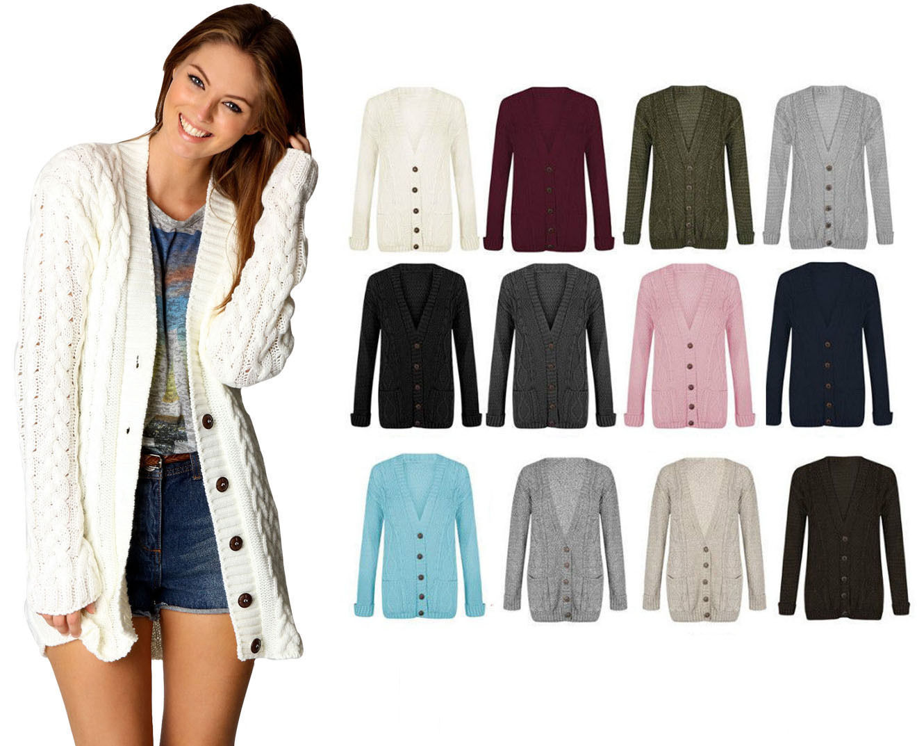 Womens Ladies Chunky Cable Knit Cardigan Button Long Sleeves Grandad  Plus Sizes