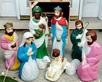 Empire 10 piece Set Miniature Blow Mold Nativity Set Lighted Christmas With Box