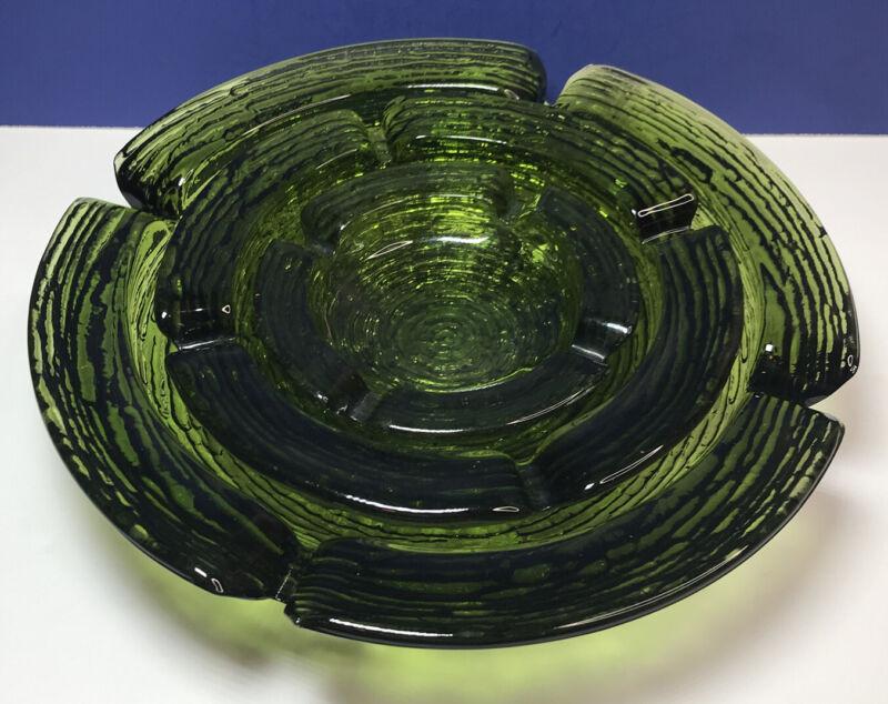 3 Piece Set: Anchor Hocking Soreno Avocado Green Mid Century Modern Ashtrays