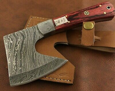 Handmade Damascus Steel Hatchet-Axe-Functional-Hunting-Camping-Outdoor-dh3