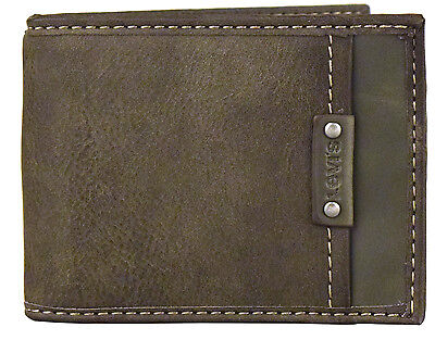 Levi's Genuine Leather Bifold Id Credit Card Wallet 31lv1631 Gray