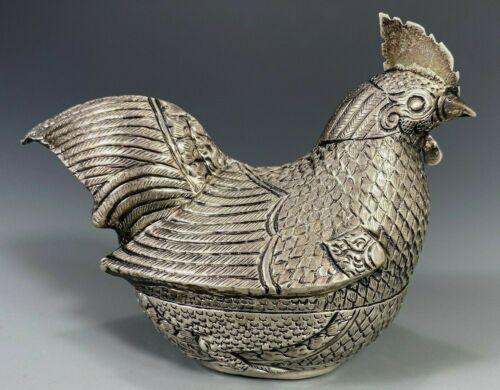 Fine Khmer Cambodian Cambodia Silver Repousse Brooding Chicken Form Betel Box