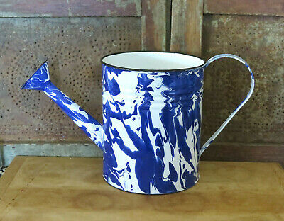 Graniteware Metal Enamel Porcelain Vintage Style Blue Swirl Watering Can PRETTY!