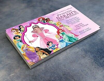 - Disney Princess Photo Invitations Personalised Birthday Party Invites & envelope