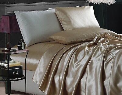 Chezmoi Collection 4-Piece Solid Champagne Bridal Satin Sheet Set Sheet Set Champagne