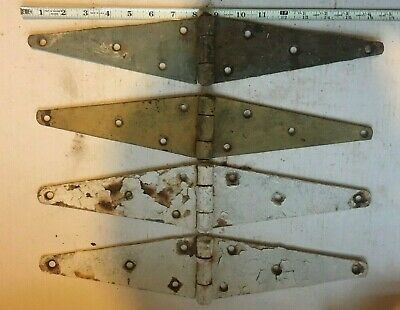 LOT OF 4 VINTAGE IRON STRAP HINGES BARN DOOR GATE ANTIQUE 16