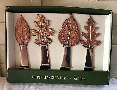 New Sur La Table Copper Leaf Cheese Tray Spreader Knife Set Of 4 Brass Stainless
