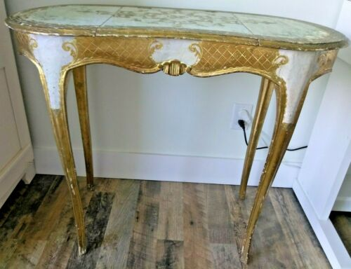 True Vintage Florentine Italian Gilded Gold Leaf Ladies Mirrored Vanity Makeup