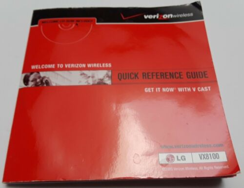 Verizon LG VX8100 Quick Reference Guide with CD-ROM