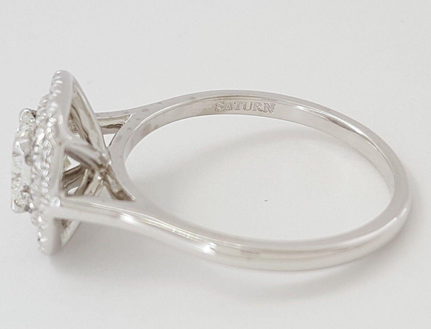 0.97 ct 18K White Gold Cushion Cut Diamond Double Halo Engagement Ring GIA E/VS1 8