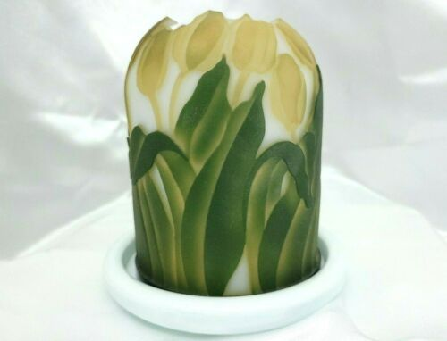 "Kelsey Murphy / Pilgrim ""Tulips"" Cameo Sand Carved Fairy Lamp/Light/Luminary"