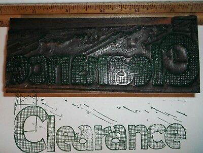 Antique Clearance Leadwood Cut Printing Block Letterpress Type Vintage