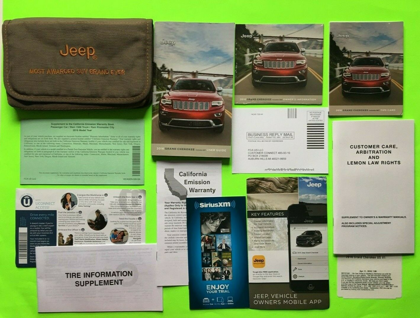 2016 Jeep GRAND CHEROKEE Factory Owner Manual User Guide Set & Case *OEM*