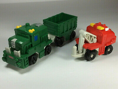 Fisher Price Geotrax Train Engine Green Side Opening Cargo Car Push Along set/lo