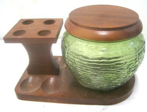 Vintage Wood Pipe Rack Stand With Glass Green Soreno Glass Humidor