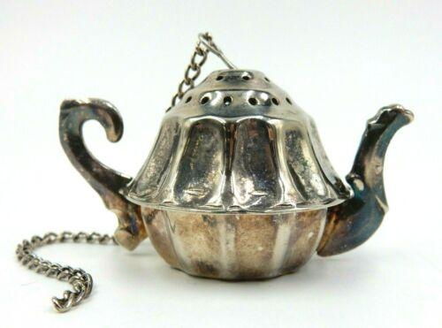 VINTAGE SILVER PLATED LOOSE LEAF TEA INFUSER ~ CHARMING SHAPE LIKE A TEAPOT