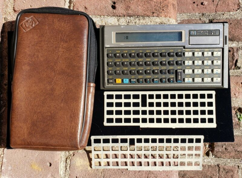 Vtg Hewlett Packard 71B Calculator w/ Case, 2 Overlays & 82401A HP-IL Interface!