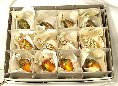 Box of 12  Pine Cone/Acorn Mix  Blown Glass Christmas Tree Ornaments  Poland
