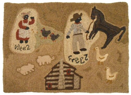 WEEZ FREEZ 2009 BLK AMERICANA HOOKED RUG L. TIETJIN & C. WESTERMAN CHESTER CO PA