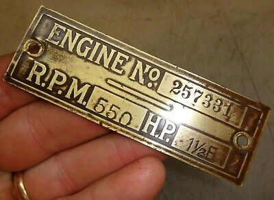 Orig Name Tag For 1-12hp E Hercules Economy No. 257331 Hit And Miss Gas Engine