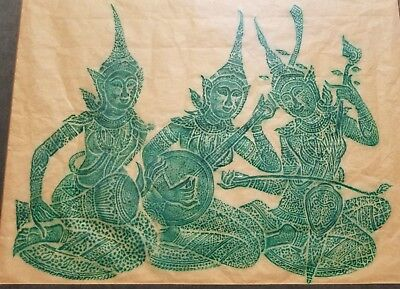 VINTAGE CAMBODIAN 1960's ANGKOR WAT TEMPLE CHARCOAL RUBBING ON PAPER FRAMED