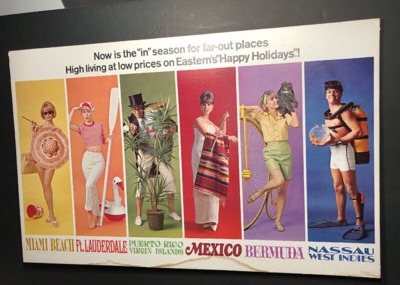 Eastern Airline Travel Cardboard Sign Poster Pretty Girls  Mid Century Modern