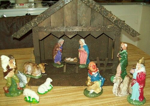 Vintage West Germany 1950's Manger Nativity Scene 15 Piece Set US Zone WW2