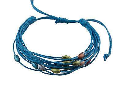 Bracelet multi fils bleu perles pastel tous poignets-Line bresilien Wrap 937 (Tous Armband Perle)