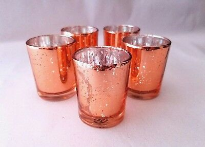 12 SET Rose Gold Mercury Glass Candle Holders Blush Votive Holder Sparkle Candle