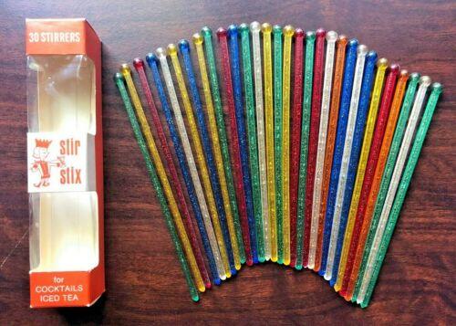 Vintage Stir Stix 30 Multicolor Glitter Drink Cocktail Stirrers Swizzle Sticks