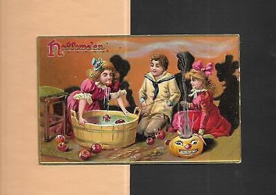 CHILDREN BOB FOR APPLES, JOL On Colorful TUCK Vintage 1908 HALLOWEEN - Bob For Apples