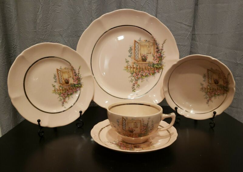Vintage Argosy W.S. George RARE Pink 5 Piece Set: Plate/3 Saucers and a Cup