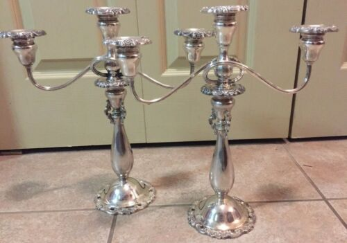 """Wallace Baroque Set of Silverplate 3 Candle Candelabras Vintage 14"""" Tall"""