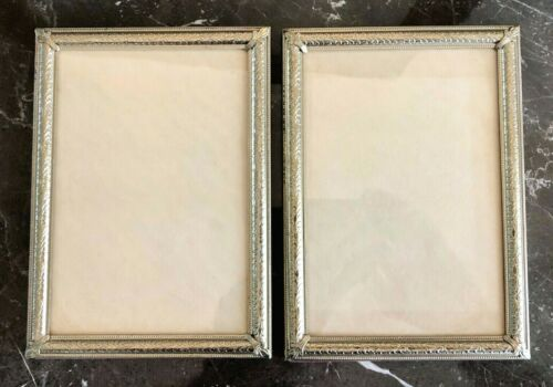 4 X 6 Picture Frame, 2 Matching, Gold color Metal with glass, Hanging, Excellent