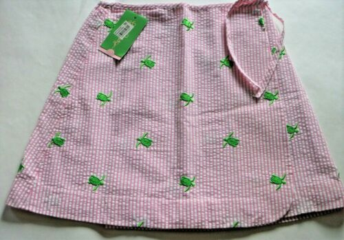 Lilly Pulitzer Girls Size 10 Dixie Wrap Skirt Pink w/ Embroidered Turtles - NWT