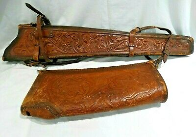 Hand Tooled Leather Scabbard Shotgun/Rifle Horseback Gun Case Adjustable (Leather Gun Scabbard)