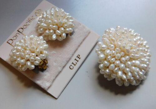Brooch Pin & Pair Earrings Demi Rice Pearls ? Pan Pacific, Clips, Gold Tn Metal