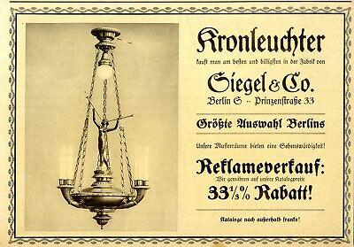 nleuchter-Auswahl Siegel & Co.Historische XXL-Reklame von 1913 (Größte Auswahl)