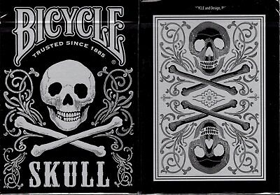 Skull Metallic Silver Bicycle Playing Cards Poker Size Deck USPCC Custom Limited