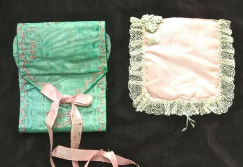 2 antique needle cases, handmade silk and satin: one embr. 1908 - lovely!