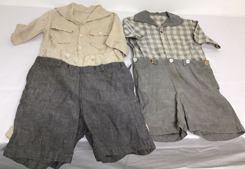 1940's Vintage Boys Rompers Kaynee & Handmade W/extra Button On Shorts