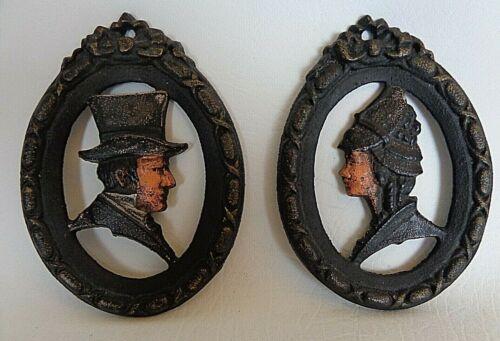 Vintage His & Hers Restroom Door Plaques, Metal Diecast, Victorian? Late 1800