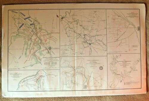 Civil War Battles MAP Murfreesborough Fredericksburg Thompson