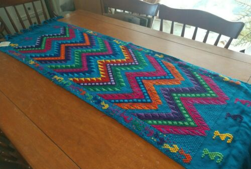 Guatemalan Chi Chi Table runner handwoven by natives of Guatemala blue colors
