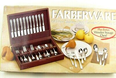 FARBERWARE 64 Pc Stainless Steel Flatware Service for 12 w/ Wooden Storage Chest