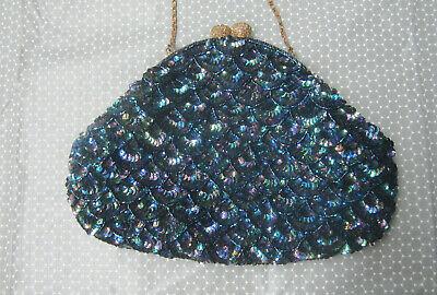 1950s Handbags, Purses, and Evening Bag Styles vintage evening handbag midnight blue sequinned ladies handbag 1950s $42.61 AT vintagedancer.com