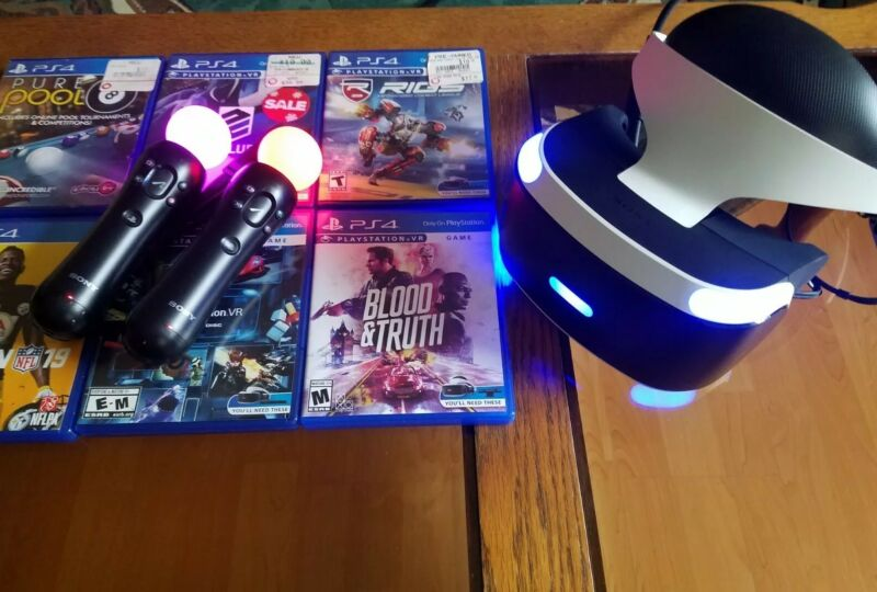 Sony PS4 VR PSVR Virtual Reality Headset Bundle with Games. Works great!
